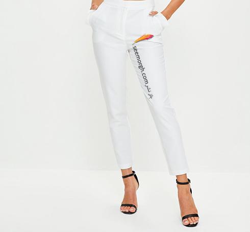 شلوار سفید با پارچه های سفت انتخاب کنید
