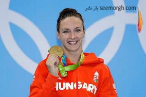 عکسی جالب از شناگر زن مجارستانی در المپیک 2016