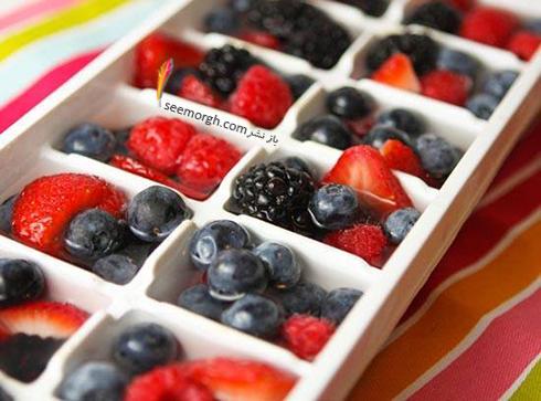 قالب های یخی با میوه های تابستانی