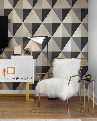 تزیین دیوار با کاغذ دیواری با طرح های هندسی