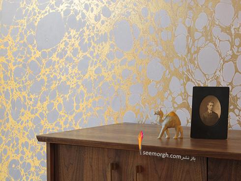کاغذ دیواری طلایی در دکوراسیون داخلی