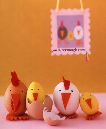 تزیین تخم مرغ,تخم مرغ هفت سین,تزیین تخم مرغ هفت سین,تزیین تخم مرغ سفره هفت سین,تزیین تخم مرغ سفره هفت سین به شکل مرغ و خروس