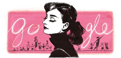عکس آدری هپبورن Audrey Hepburn در لوگوی گوگل